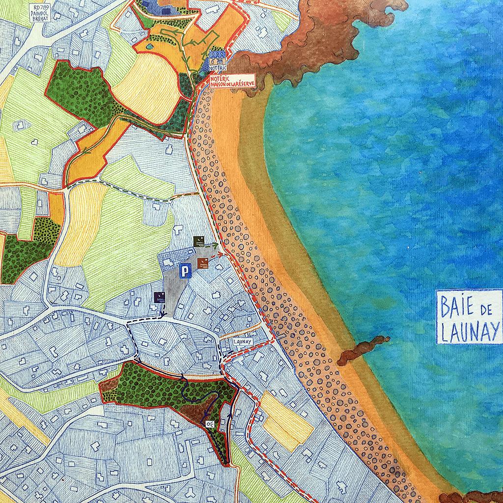 La Réserve Naturelle Paule LAPICQUE  avec la Maison Notéric au bout de la Plage de Launay (en haut de l'image)... (CLIQUEZ pour Accès: Parking de Launay)